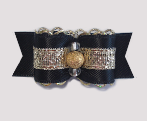 "#1761 - 5/8"" Dog Bow- Stunning Black/Gold Sparkle, Gold Stardust"