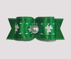 "#1768 - 5/8"" Dog Bow - Shamrock Delight, Rich Green Satin"