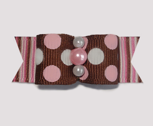 "#1771 - 5/8"" Dog Bow - Sweet Chocolate & Strawberry Mix"