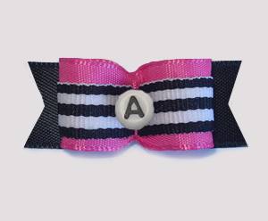 "#1777 - 5/8"" Custom - Hot Pink, B&W Stripe - Choose Your Letter"