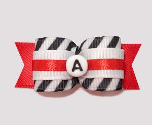 "#1781- 5/8"" Dog Bow- Custom - B/W/Red Stripe- Choose Your Letter"