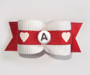 "#1782 - 5/8"" Custom - Adorable Hearts - Choose Your Letter"