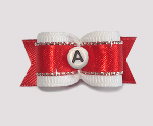 "#1784 - 5/8"" Dog Bow - Custom - Fancy Red - Choose Your Letter"