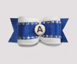 "#1785 - 5/8"" Dog Bow - Custom - Fancy Blue - Choose Your Letter"