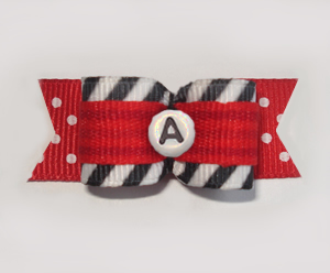 "#1787 - 5/8"" Dog Bow- Custom - Punky Stripe - Choose Your Letter"