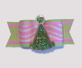 "#1789 - 5/8"" Dog Bow - Squigglies, Sparkling Green Party Hat"