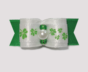 "#1797 - 5/8"" Delicate Shamrocks, Rich Green Satin, Faux Pearl"