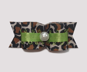 "#1802 - 5/8"" Dog Bow - Cool Leopard & Lime, Faux Pearl"