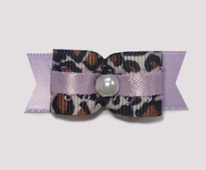 "#1803 - 5/8"" Dog Bow - Sweet Leopard & Lavender, Faux Pearl"