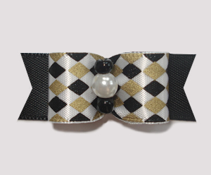 "#1805 - 5/8"" Dog Bow - Chic Diamonds, Gold & Black, Faux Pearl"