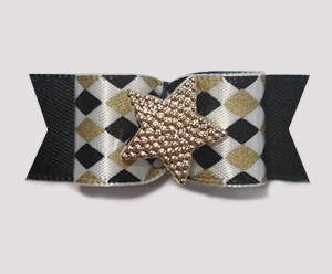 "#1806 - 5/8"" Dog Bow - Chic Diamonds, Gold & Black, Gold Star"