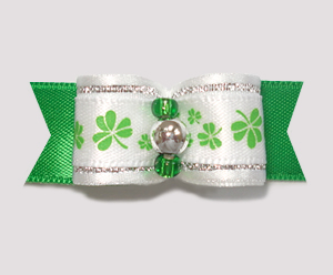 "#1820 - 5/8"" Dog Bow - Delicate Shamrocks, Green/White/Silver"