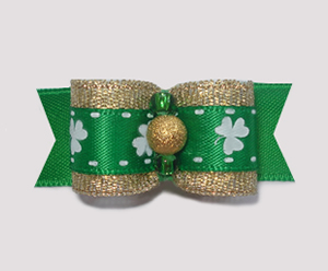 "#1821 - 5/8"" Dog Bow - Irish Luck, Pot o' Gold, Gold & Green"
