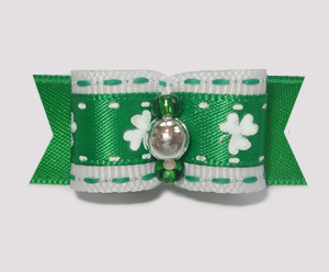"#1823 - 5/8"" Dog Bow - Shamrocks for St Patrick's, Green/Silver"