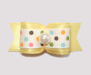 "#1829 - 5/8"" Dog Bow - Ice Cream Dots, Baby Yellow, Pearl"