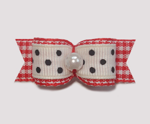 "#1844 - 5/8"" Dog Bow - Spring Picnic, Black/White & Red Gingham"
