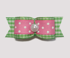 "#1845 - 5/8"" Dog Bow - Spring Picnic, Pink/White & Green Gingham"