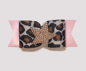 "#1848 - 5/8"" Dog Bow - Star Diva, Leopard, Soft Pink, Gold Star"
