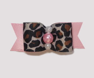 "#1850 - 5/8"" Dog Bow - Sweet Leopard with Soft Pink Satin"