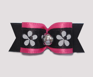 "#1853 - 5/8"" Dog Bow - Dramatic Flowers, Hot Pink/Black & Silver"