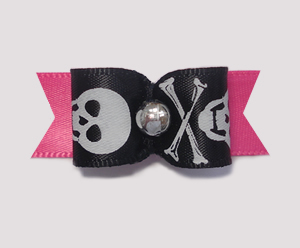 "#1854 - 5/8"" Dog Bow - Girlie Hot Pink Pirate Skull & Crossbones"