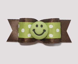 "#1872 - 5/8"" Dog Bow - Adorable Dots, Green/Brown, Green Smiley"