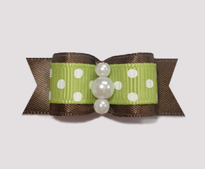 "#1873 - 5/8"" Dog Bow - Adorable Dots, Green/Brown, Faux Pearls"