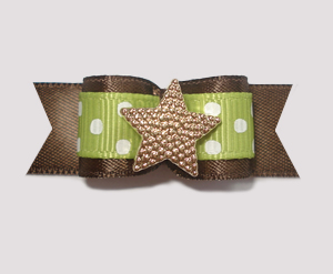 "#1875 - 5/8"" Dog Bow - Adorable Dots, Green/Brown, Star"