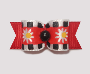 "#1876 - 5/8"" Dog Bow - Mod Daisies, Red, Black, White Stripe"