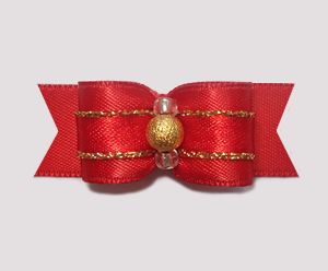 "#1877 - 5/8"" Dog Bow - Classic Red Satin w/Gold & Stardust Bead"