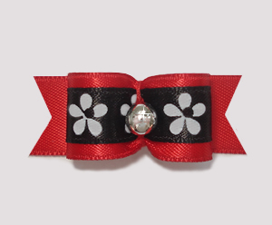 "#1878 - 5/8"" Dog Bow - Lovely Red Satin, Bold Flowers"