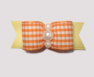 "#1882 - 5/8"" Dog Bow - Sweet Orange Gingham with Yellow, Pearls"