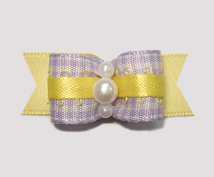 "#1883 - 5/8"" Dog Bow - Sweet Lavender Gingham w/Yellow, Pearls"