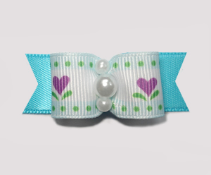 "#1885 - 5/8"" Dog Bow - Cute Flower Garden, Blue/Purple"