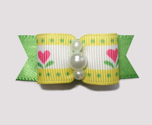 "#1886 - 5/8"" Dog Bow - Cute Flower Garden, Yellow/Pink/Green"
