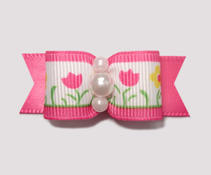 "#1887 - 5/8"" Dog Bow - Cute Flower Garden, Hot Pink"