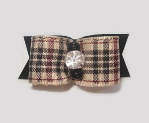 "#1888 - 5/8"" Dog Bow - Classic Designer Plaid, Rhinestone"