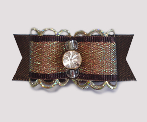 "#1889 - 5/8"" Dog Bow - Gorgeous Brown/Gold Sparkle, Rhinestone"