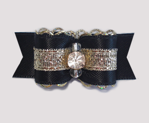 "#1890 - 5/8"" Dog Bow - Stunning Black/Gold Sparkle, Rhinestone"