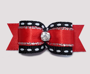"#1891 - 5/8"" Dog Bow - Classic Red & Black, Sparkling Rhinestone"