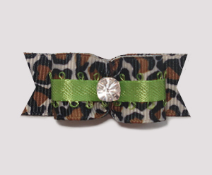 "#1898 - 5/8"" Dog Bow - Cool Leopard & Lime, Rhinestone"
