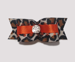 "#1899 - 5/8"" Dog Bow - Lovely Leopard 'n Orange, Rhinestone"