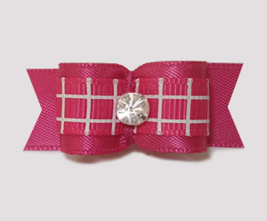 "#1906 - 5/8"" Dog Bow - TicTacToe, Hot Pink Satin, Rhinestone"