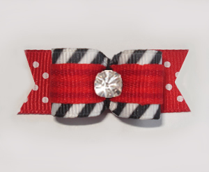 "#1907 - 5/8"" Dog Bow - Punky Stripe, Red & Black, Rhinestone"
