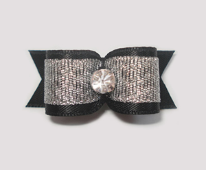 "#1908 - 5/8"" Dog Bow- Beautiful Classic Black/Silver, Rhinestone"