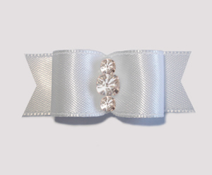 "#1909 - 5/8"" Dog Bow - Satin, Angelic White, Triple Rhinestones"