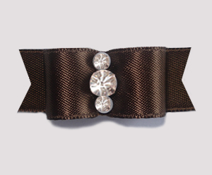 "#1911 - 5/8"" Dog Bow - Satin, Rich Brown, Triple Rhinestones"