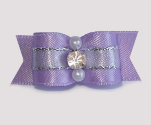"#1912 - 5/8"" Dog Bow - Gorgeous Lavender with Silver, Rhinestone"
