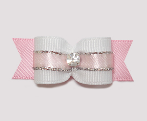 "#1913 - 5/8"" Dog Bow- Princess, White, Pink & Silver, Rhinestone"