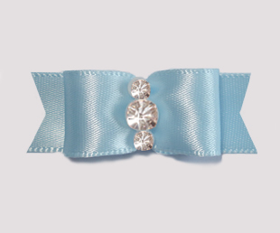 "#1918 - 5/8"" Dog Bow - Satin, Baby Blue,Triple Rhinestones"